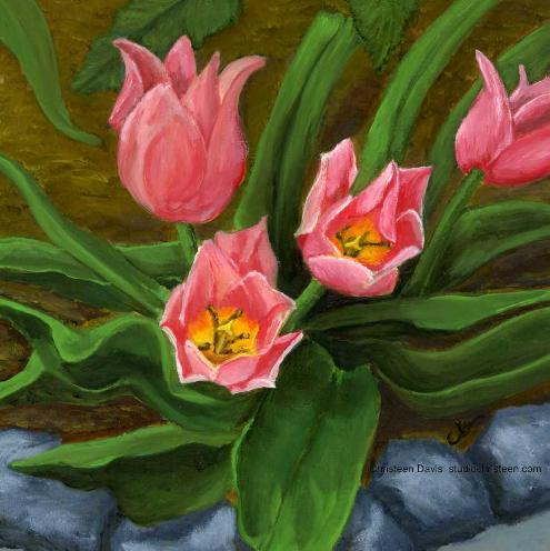 Ground Tulips an oil painting by Christeen Davis, Pink Tulips in the ground with rock border